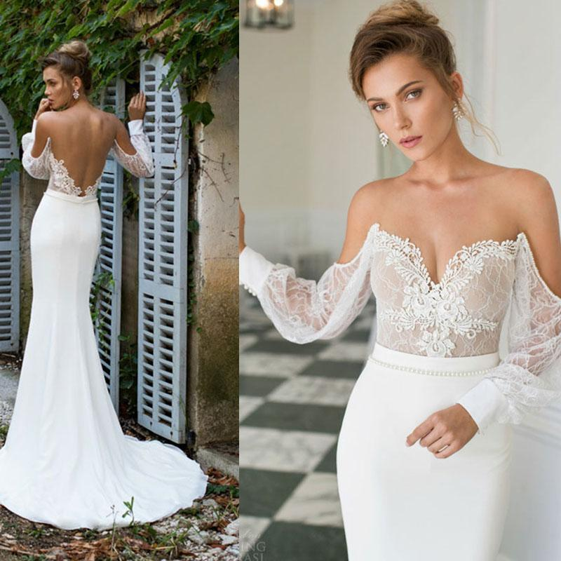 Long sleeve lace mermaid wedding dresses backless applique for Lace sleeve backless wedding dress