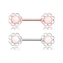 2019 New Style Rose Gold Silver Color Fashion Nipple Rings Piercing Women Flowers Nipple Rings Jewelry Body Piercing Accessories