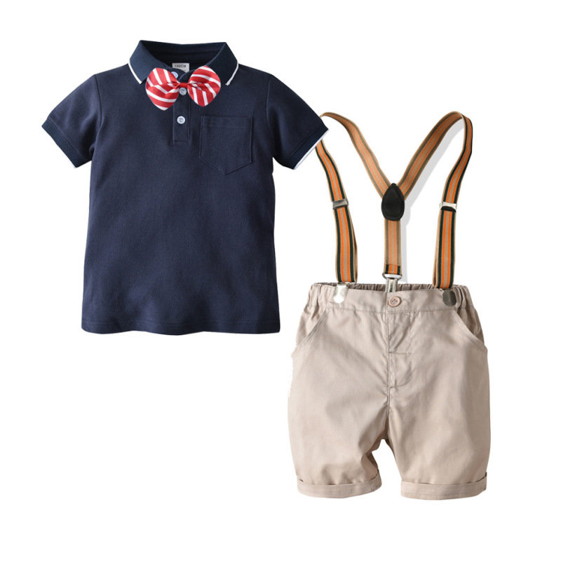 2019 New Children's Clothing Suit Boys College Wind Gentleman Bow Tie+Cotton Short Sleeve Polo Shirt+Bib Short 3PCS Fashion Suit(China)