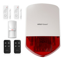 Wolf-Guard 110dB Outdoor Alarm Siren as Home Security System with PIR Detection Sensor,Door Sensor,Remote Control
