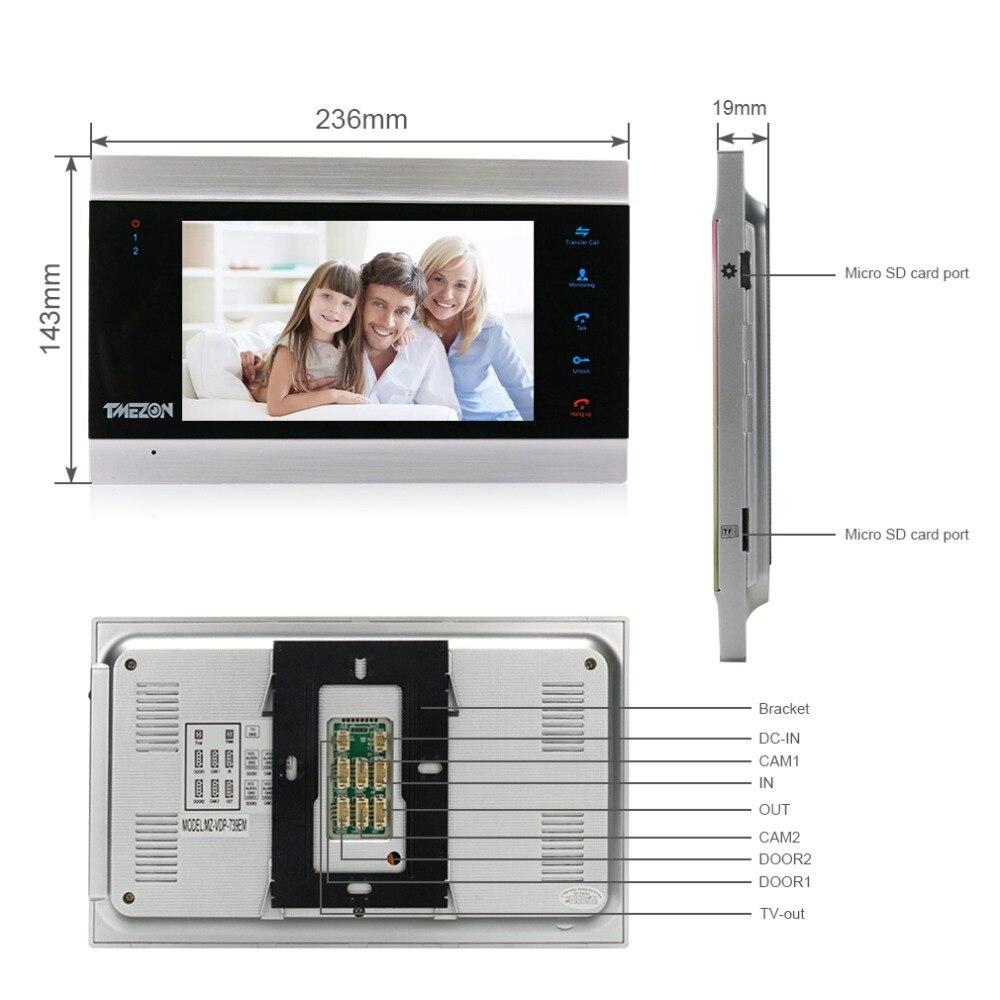 TMEZON 7 дюймов TFT Проводная система видеодомофона с 1x 1200TVL Водонепроницаемый дверной телефон камера, поддержка записи/снимка дверной Звонок - 3