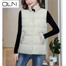 OLN Vest Korean Autumn new light down jacket female version of the short wild slinky student vest cotton net red