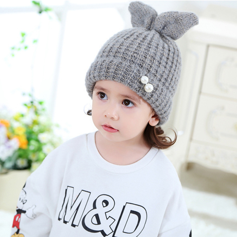 Winter Cap Baby Rabbit Ears Children Knitted Hat For Kids Girl Boy Accessories Photography Props Crochet Beanies Caps 2-5 Years winter wool red yellow star cap cute knitted hat children boy girl caps