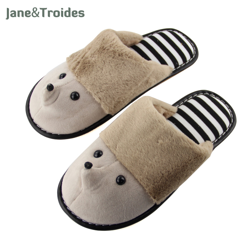 Winter Cartoon Cute Slippers For Men Plush Warm Anti Slip Flip Flops Striped Insole Indoor Slippers Floor Couple Fashion Shoes