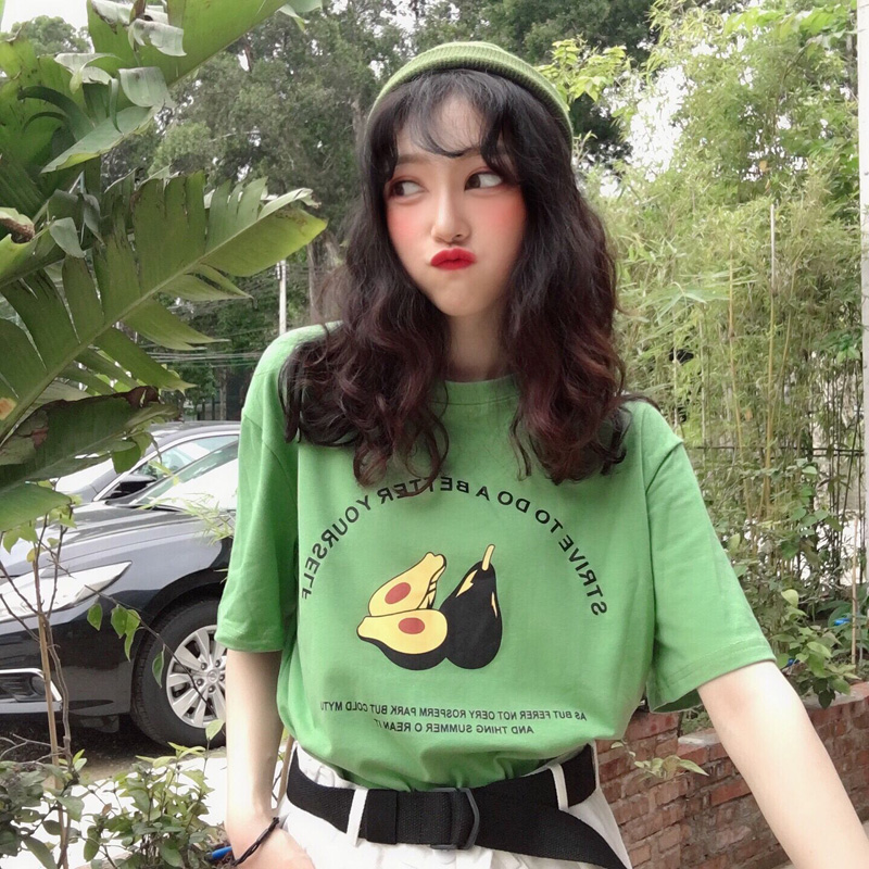 Ulzzang Cartoon Avocado T shirt women cotton short sleeve harajuku kawaii t-shirt Female ...