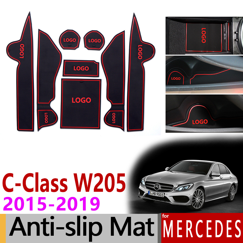 Anti-Slip Gate Slot Cup Mat for Mercedes Benz C-Class W205 2015-2019 Accessories C180 C200 C220 C250 C300 C350 C400 C43 C63 AMG image