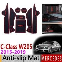 Anti Slip Gate Slot Cup Mat for Mercedes Benz C Class W205 2015 2019 Accessories C180 C200 C220 C250 C300 C350 C400 C43 C63 AMG