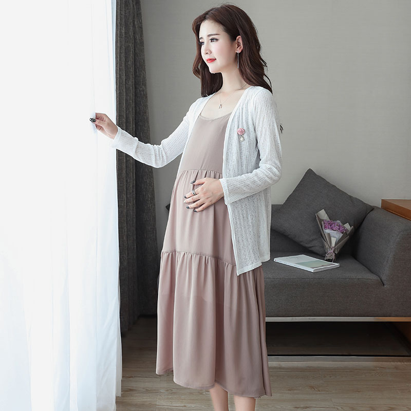 Cardigan Pregnant Women Dresses Maternity Nursing Dress for Pregnant Women Pregnancy Womens dress Clothing Two sets A034