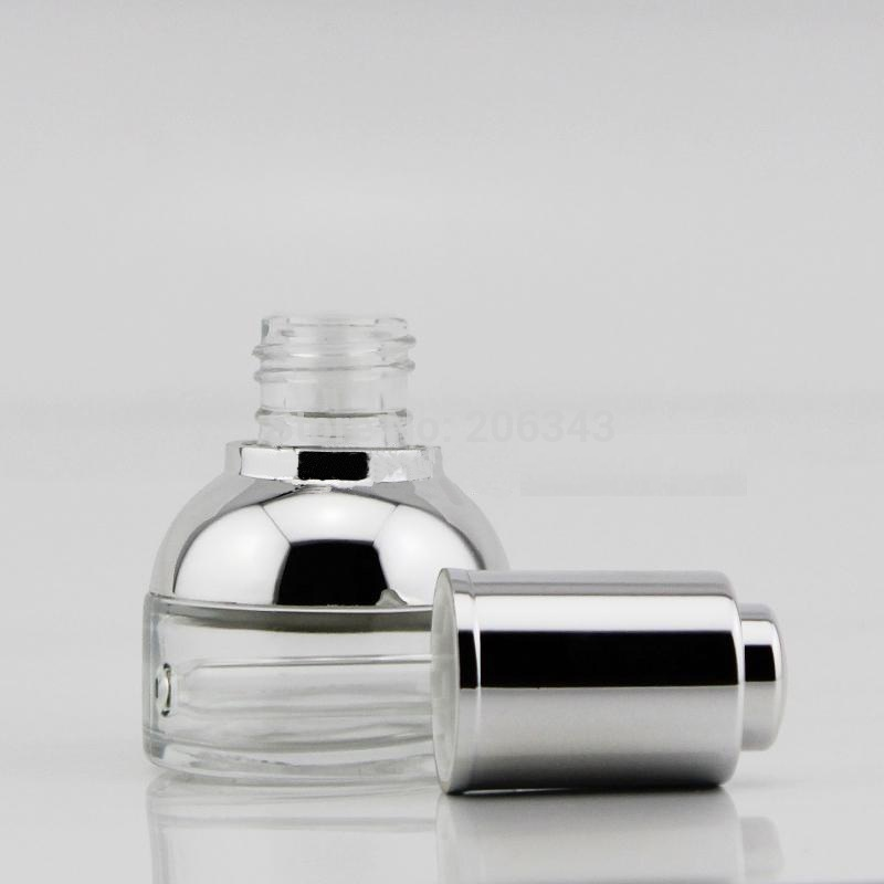NEW ARRIVAL 30ml transparent glass dropper bottle with silver shoulder and silver press dropper ,white bulb glass bottle