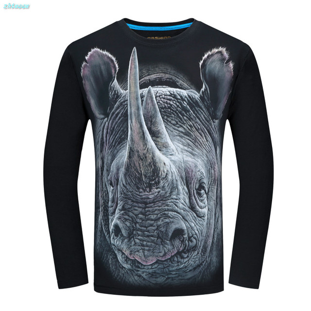 Boy T Shirt Clothes 3D Animal Printed Slim Fit Cotton Causal Tee Shirt Long Sleeve for Men Cool for Kids Teenage 14-20 Years