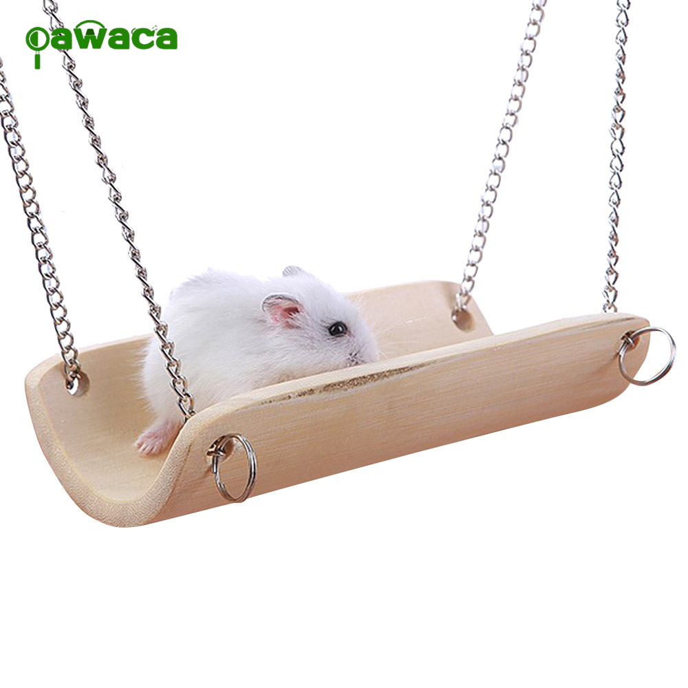Cute Hamster Toys Wooden Swing Toy For Small Animals Like Dwarf Hamster And Mouse Pet Accessories Supplies