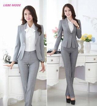 Womens Formal Work Suit Pants Black Grey Ladies Career Dress Suit Set Blazers and Pants Plus Size Uniform Pantsuits S-3XL 4XL 1