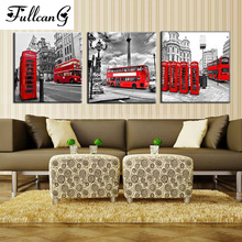 FULLCANG diy full square diamond embroidery bus scenery and buddha flowers painting cross stitch triptych mosaic E924
