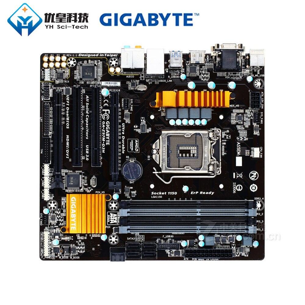 Original Used Desktop Motherboard Gigabyte Z97M-D3H Z97 LGA 1150  Core i7/i5/i3/Pentium/Celeron DDR3 32G SATA3 Micro ATX(China)