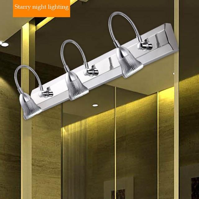 cuarto de bao moderno led luces de espejo de acero inoxidable enchufes