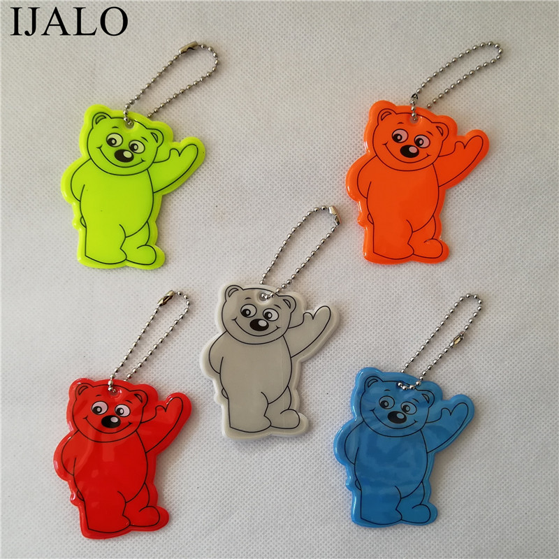 Cute Bear Reflective keychain bag pendant school bag accessories Soft PVC Reflector Keyrings Hanger for visibility safety use