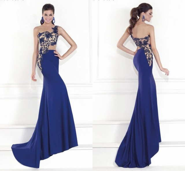 Remarkable Evening Gown Fitted Bodice Stunning Sheer Beading Royal Blue  Evening Dress Mermaid Long b0ce5ae661b1
