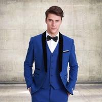 Классический Стиль женихов Для мужчин костюм одна кнопка смокинг для жениха Королевский синий свадебный костюм для Для мужчин (куртка + брю