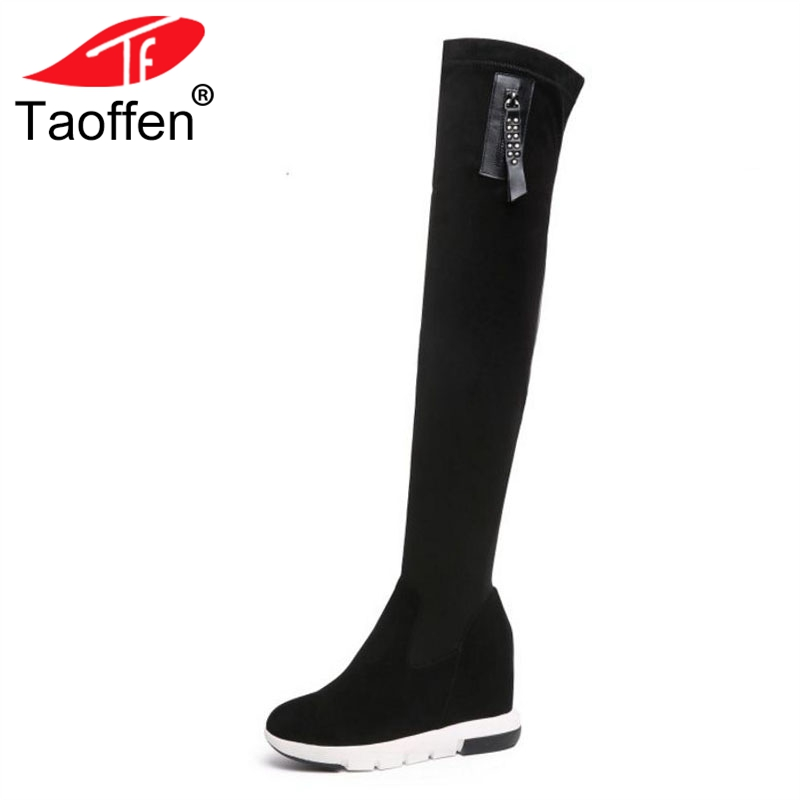 TAOFFEN Women High Heel Boots Fur Winter Shoes Real Leather Zipper Over Knee Boots Concise Shoes Woman Footwear Size 34-39 a suit of chic rhinestone leaf shape necklace bracelet earrings and ring for women
