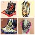 90X90cm Twill Silk Scarf Big Size Fashion Brand Silk Polyester Blend Square Scarves 2015 High Quality Cheap Women Head Shawl