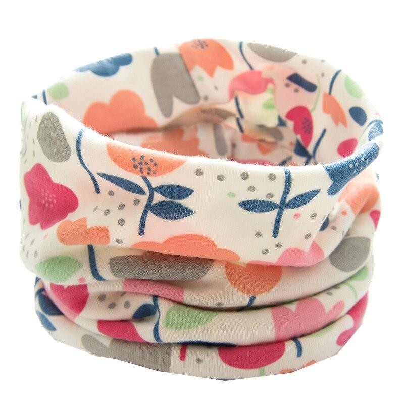Новинка; сезон осень-зима; шарф из хлопка для девочек; Детский шарф; нагрудный шарф для мальчиков и девочек с круглым кольцом; милый детский шарф с воротником; Bufandas - Цвет: new white flower