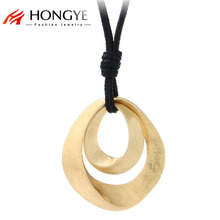 Gold Necklace Pendant Black Leather Long Necklace for Women Alloy Wire Drawing Double Water Women Decoration