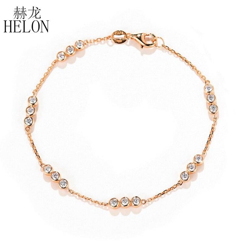 HELON solide 18 K (AU750) or Rose SI/H 0.6ct diamants naturels Bracelet pour femmes fiançailles chaîne Bracelet à la mode bijoux fins