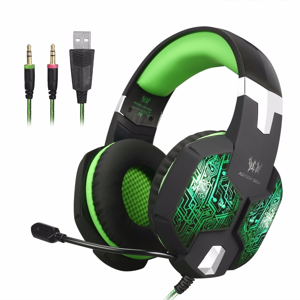 EACH G1000 3.5mm Gaming Headset gamer noise canceling headphone over-ear Headphones stereo With Microphone LED For Computer PC gaming headset led light glow noise cancealing pc gamer super bass headband headphones with microphone for computer pc