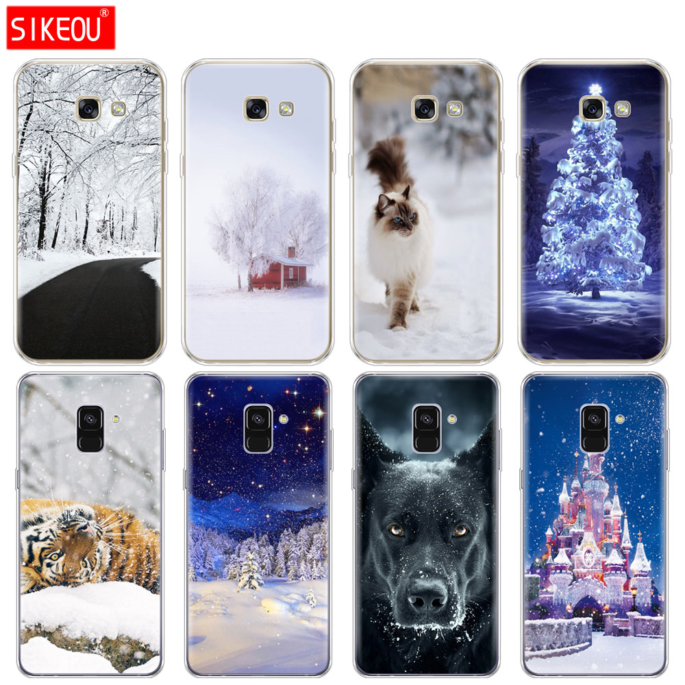 Silicone phone <font><b>case</b></font> cover for <font><b>Samsung</b></font> Galaxy <font><b>A6</b></font> A8 2018 A3 A310 A5 A510 A7 2016 <font><b>2017</b></font> <font><b>case</b></font> Winter scenery Animals image