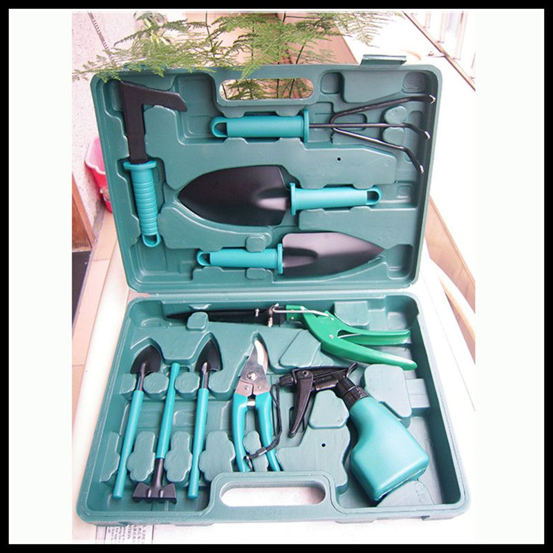 ФОТО Planting horticultural toolbox / garden family bonsai planting tools supplies ten pieces set