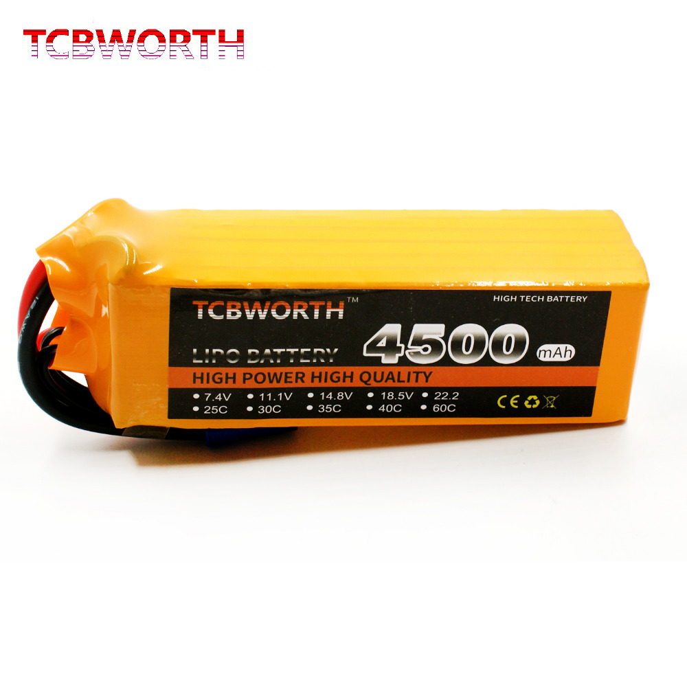 TCBWORTH RC Drone LiPo battery 22.2V 4500mAh 25C 6S For RC Airplane Quadrotor Helicopter AKKU Car Truck 6s Li-ion batteria mos 2s rc lipo battery 7 4v 2600mah 40c max 80c for rc airplane drone car batteria lithium akku free shipping