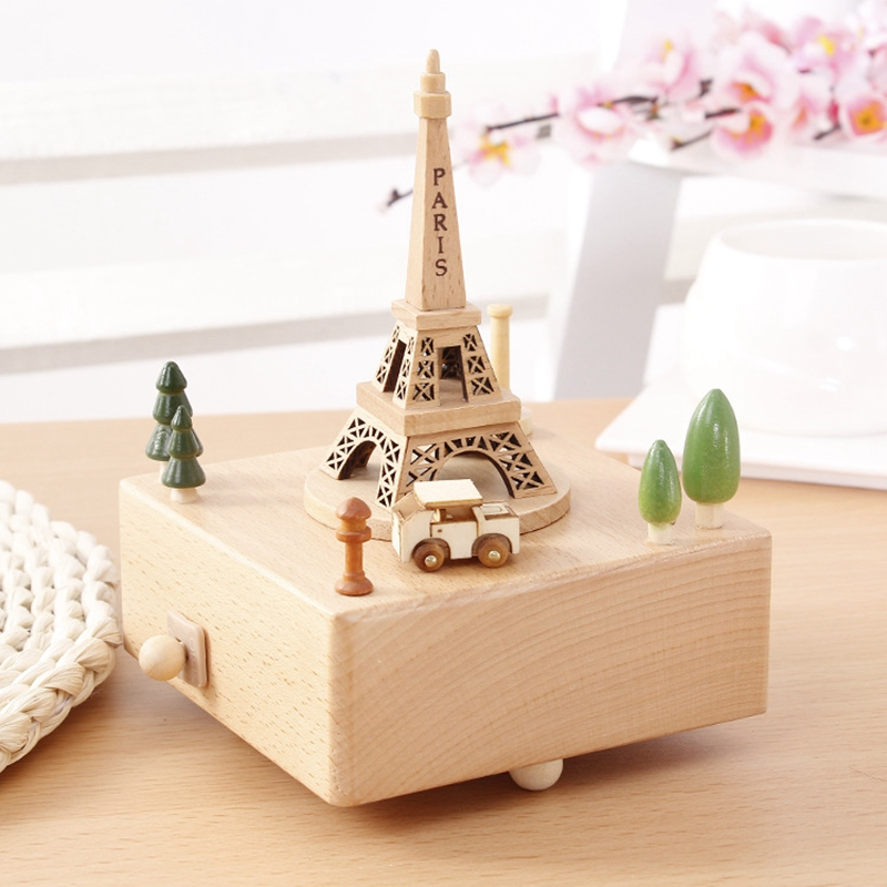 Wooden Eiffel Tower music box Home Decoration Craft Sweet musical box Creative Christmas Children Gifts Mechanism muziekdoos