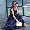Mujeres del estilo del verano polka dot dress bohemia con cuello en v larga sección temperamento swing grande dress ch-296