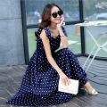 Summer Style Women's Polka Dot Dress Bohemia V-neck Long Section Temperament Big Swing Dress CH-296