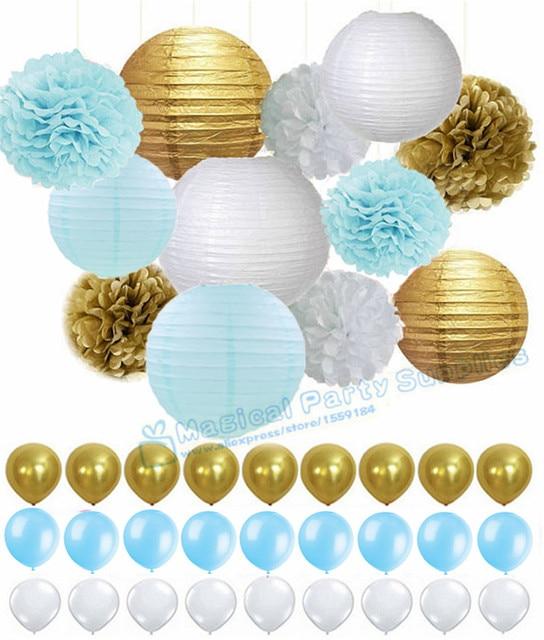 1 Set Boy Baby Shower Light Blue Gold Tissue Paper Pom Poms Lanterns Flag Banner Tassel Garland Wedding Birthday Decor