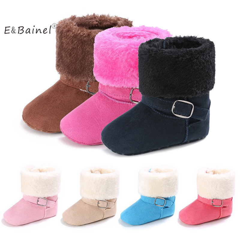 E&Bainel New Winter Warm Newborn Baby Boys Girls First Walkers Shoes Infant Toddler Soft Soled Anti-slip Baby Boots Fur Booties newborn canvas classic sports sneakers baby boys girls first walkers shoes infant toddler soft sole anti slip baby shoes