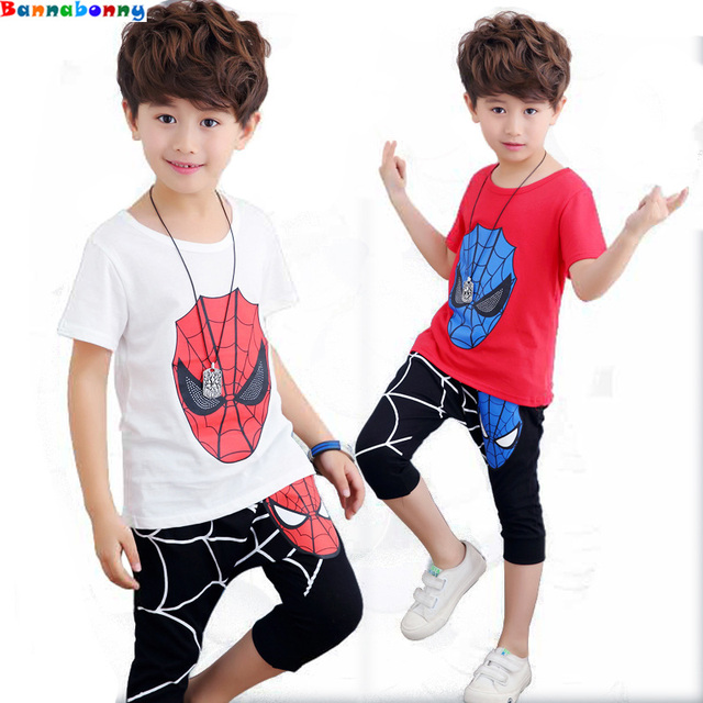 08c640af1 2018 Summer New Boys Spiderman Sports suit shirt+Pant 2 pcs/set Tracksuits Kids  Clothing sets Casual Baby Short-sleeved suit