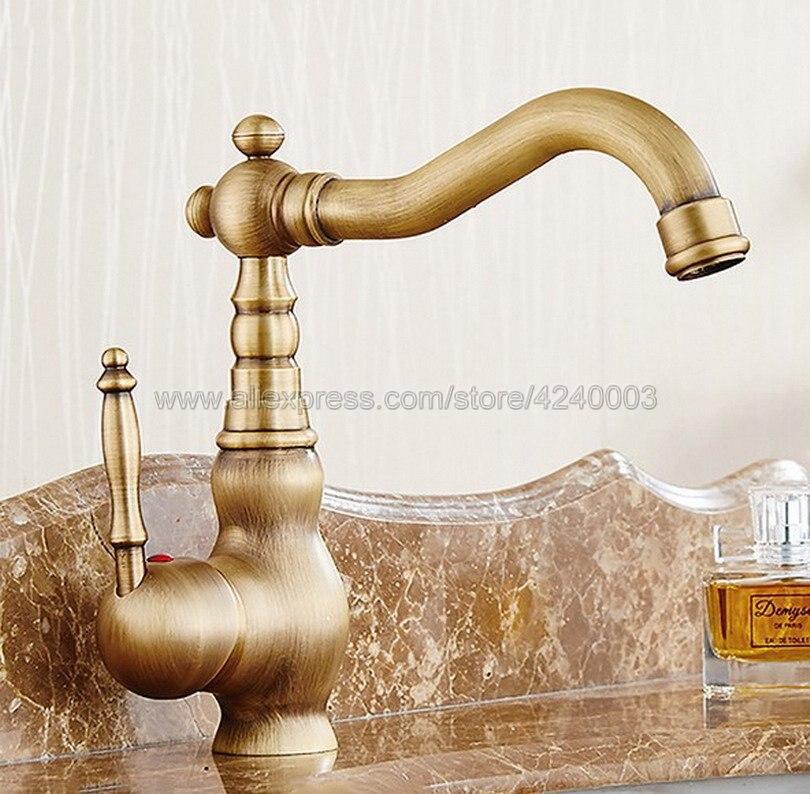 Ретро Винтаж античная латунь Ванная комната раковины кран смеситель холодной/горячей воды Kan002