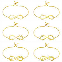 купить Wholesale Infinity Name Bracelet Gold-Color Custom Jewelry Personalized Heart Infinity Nameplate Charm Bracelet дешево