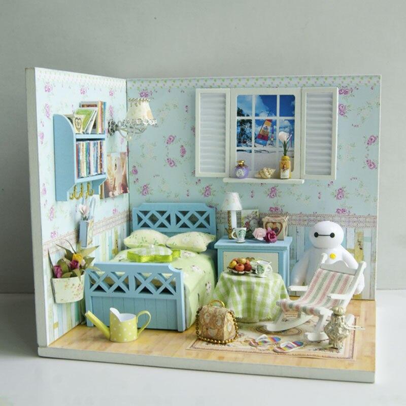 J003 Boy Bedroom House Diy Dollhouse Miniature Wooden Doll House
