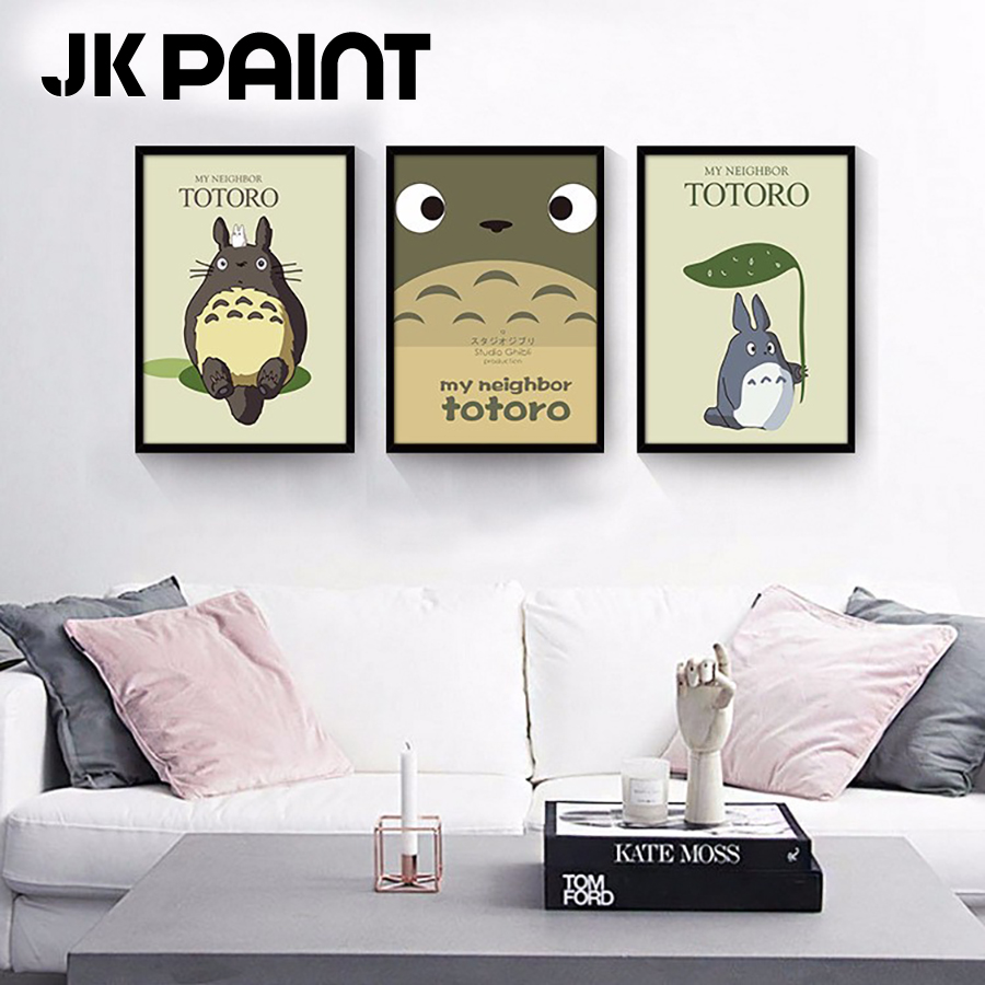 Modern Nordic Water Color Totoro Design Poster Print Wall Art Picture Canvas Painting Kids Room Decor No Frame Jk Paint Brand In Calligraphy From
