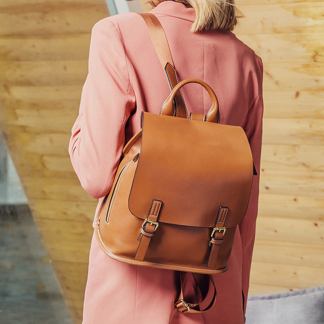 HOT Women Backpack Second Layer Cowhide Genuine Leather Fashion Causal Bags Female Shoulder Bag Backpacks For Girls High Quality