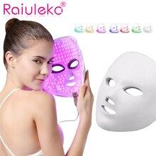 7 цветов светодио дный косметическая маска для лица Уход за кожей, омоложение морщин угорь лица Красота терапии отбеливание затянуть инструмент