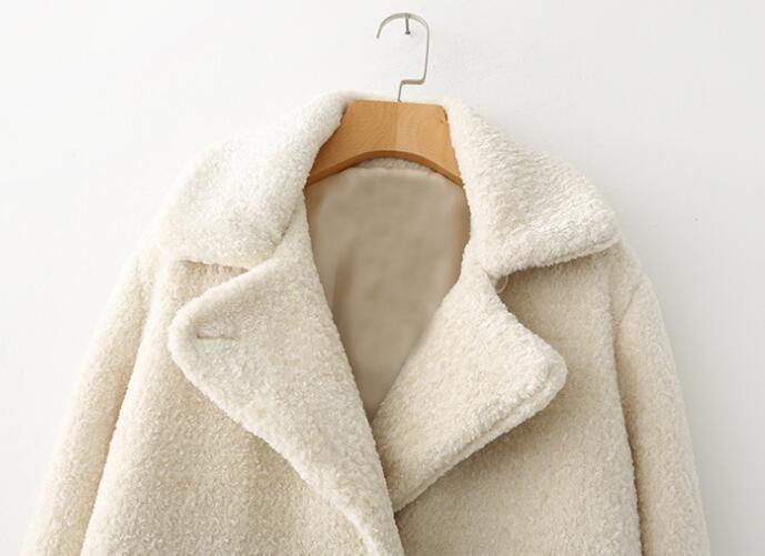 Manteau Long Beige Tb817 Faux Automne En Outwear Femelle Laine Femmes Épaississent De Chaud Hiver Fourrure Ax6Bqf08