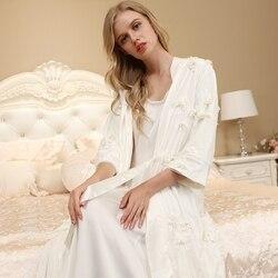 Elegante bata de dormir para mujer, conjunto de camisón para Albornoz de mujer, ropa de Noche Europea para mujer, traje de dos piezas, traje de alta calidad