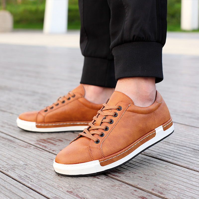 Bimuduiyu Autumn New Casual Shoes Mens Leather Flats Lace-up Shoes Simple Stylish Male Shoes Large Sizes Oxford Shoes For Men #3
