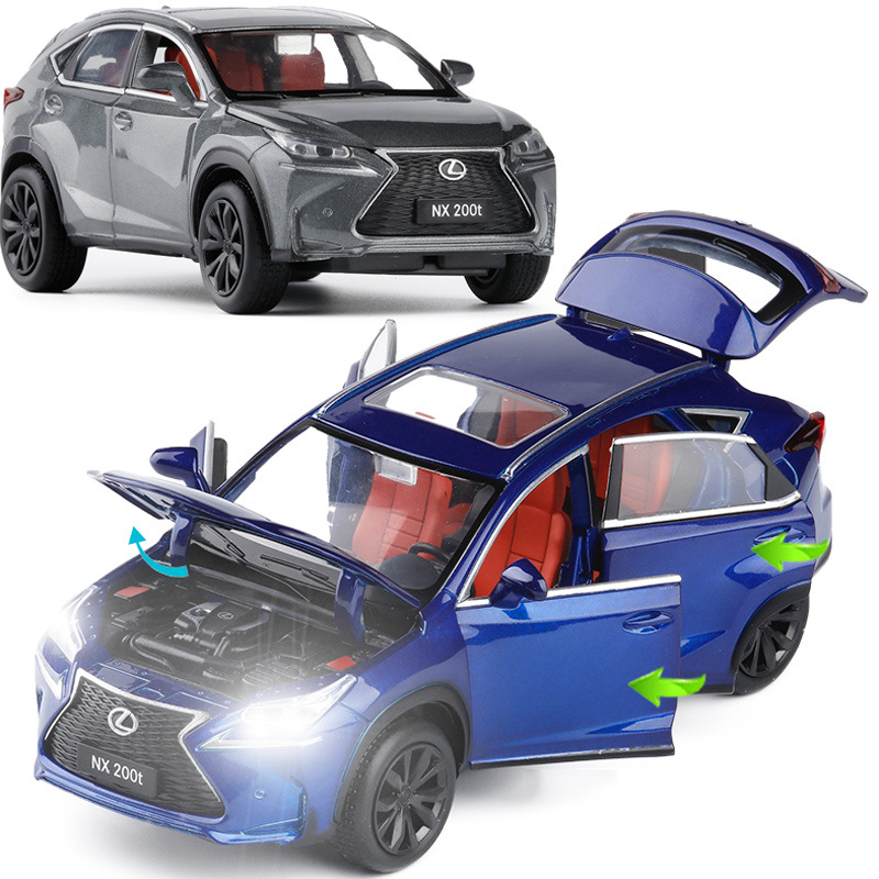 High Simulation 1:32 Scale Pull Back NX 200t,alloy Car,6 Open Door Music Flash Car Model Toys,metal Diecast, Free Shipping