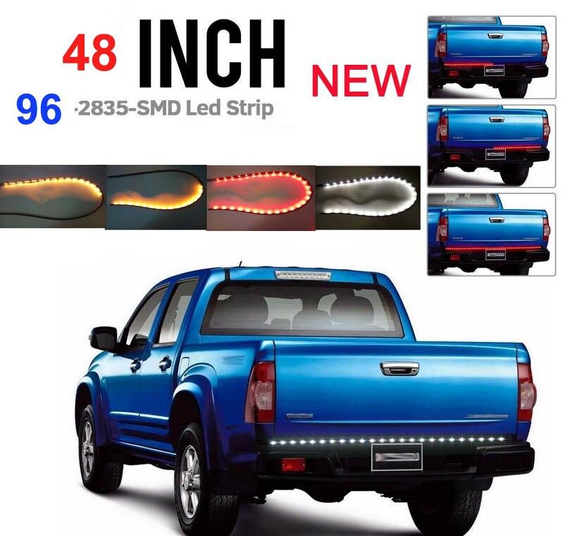 48 inch Red/White/yellow Tailgate Light Strip Bar NEW GEN 96 LEDs  for Reverse Running Brake Turn Signal for Pickup Truck SUV