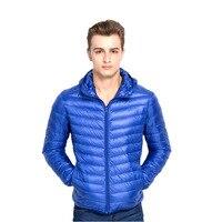 man jacket winter warm ultralight down coat Hooded 95% duck Ultra Light Jackets stand collar hat Goose down Collar jacket jacke