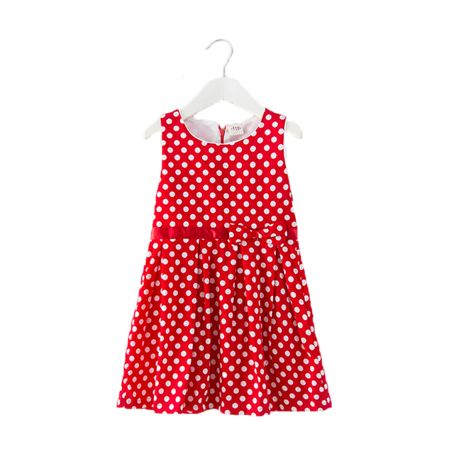 Summer Spring Children Clothing Girls Polka Dot Dress White Dots